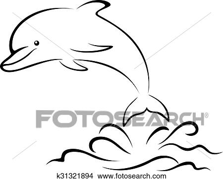 Clipart Of Dolphin And Sea Waves Contour K31321894