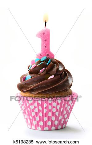 Stock Bild Erster Geburtstag Cupcake K6198285 Suche Stockfotos