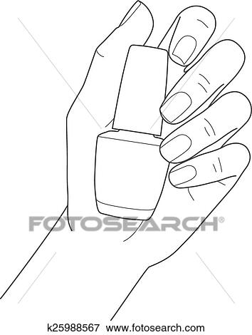 Clip Art Of Female Hand With Manicure Holding Nail Polish K25988567