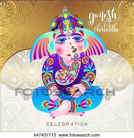 Clipart of ganesh chaturthi beautiful greeting card or poster clipart ganesh chaturthi beautiful greeting card or poster fotosearch search clip art m4hsunfo