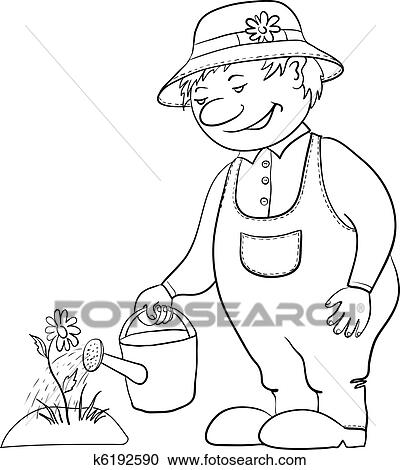 Clipart Of Gardener Waters A Flower Contour K6192590