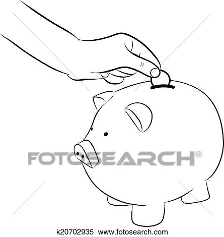 Money Into Saving Piggy Bank K20702935
