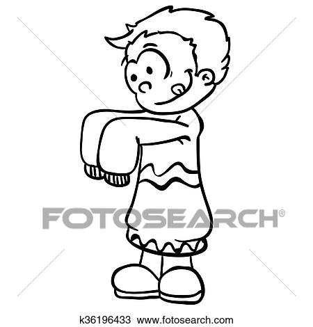 Simple black and white little boy in big clothes Clipart