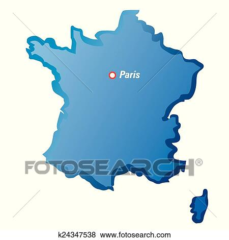 Map Of France Drawing.Vector Drawing Map Of France And Paris Clip Art