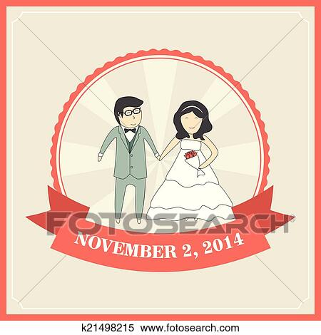 Wedding Invitation Card Template With Cartoon Couple Bride And G
