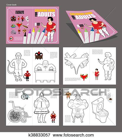 Clip Art of Adult coloring book. humor drawing major coloring ...