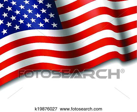 Clip Art Of American Flag Waving K19876027 Search Clipart