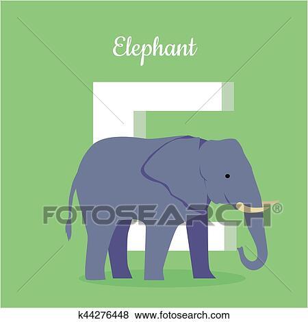 Animali alphabet. lettera e clip art k44276448 fotosearch