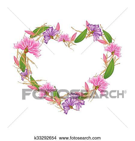 Clipart Crape Mirto Flores Y Equiphyllum Flores En Forma