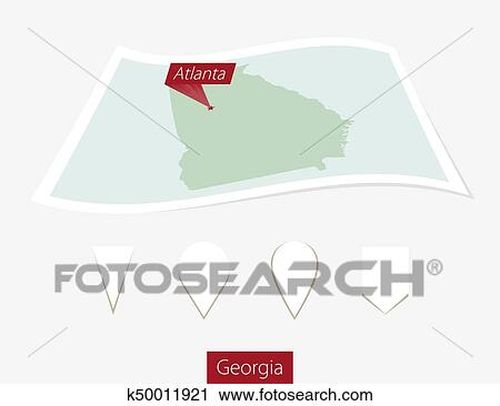 Map Of Georgia With Capital.Curved Paper Map Of Georgia State With Capital Atlanta On Gray Background Four Different Map Pin Set Clipart