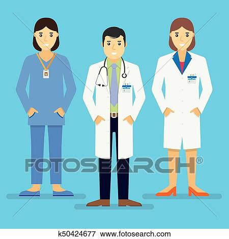 Clip Art Of Doctors And Other Hospital Staff Stand Together