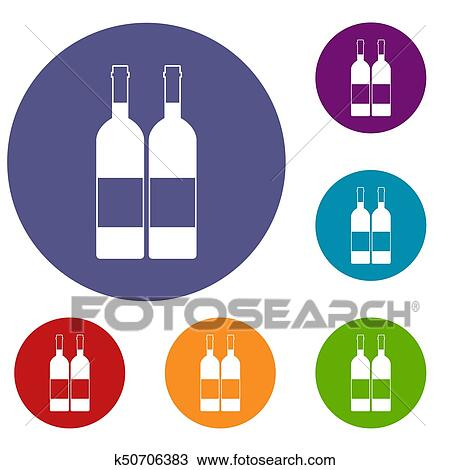 Due Bottiglie Vino Icone Set Disegno K50706383 Fotosearch