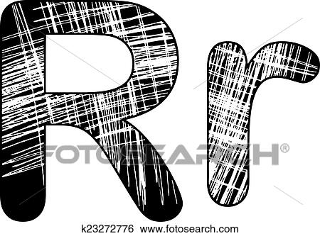 Clip Art Of Grunge Scratch Letter R Alphabet Symbol Design On White