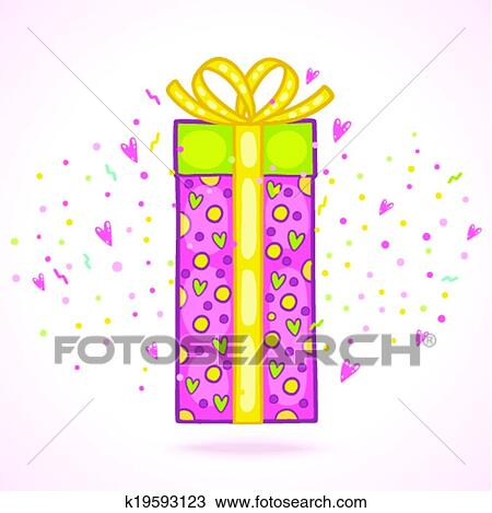 Clipart Of Happy Birthday Present Gift Box With Confetti K19593123
