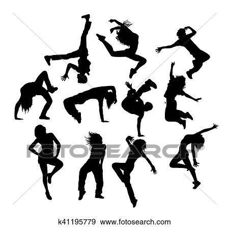 clip art of hip hop dancing k41195779 search clipart illustration