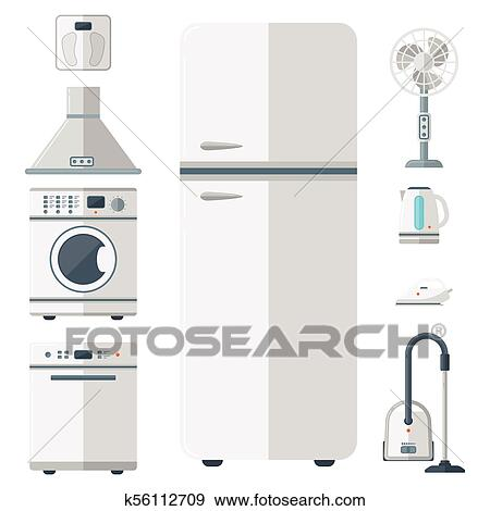Home Appliances Vector Domestic Household Equipment Kitchen Electrical Domestic Technology For Homework Tools Illustration Clip Art