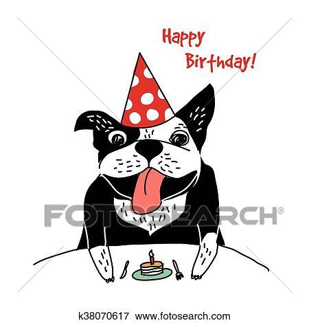 Clipart Hond Frans Bulldog Gelukkige Verjaardag Taart Groet