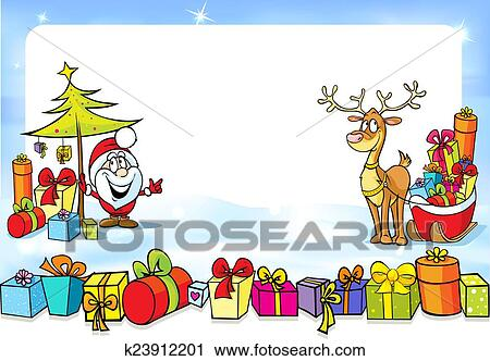 clipart weihnachten rahmen mit weihnachtsmann. Black Bedroom Furniture Sets. Home Design Ideas