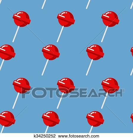 Clipart Of Lollipop Seamless Pattern Red Sweet Candy Texture