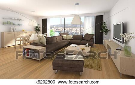 Modernes Inneneinrichtung Von Wohnung Stock Bild K6202800