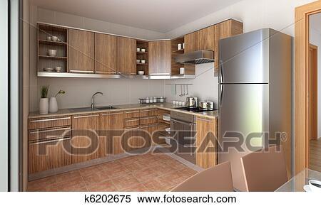 Moderno, cocina, diseño Banco de Fotografías | k6202675 | Fotosearch