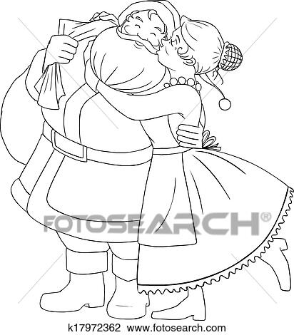 Clipart Of Mrs Claus Kisses Santa On Cheek And Hugs Coloring Page - Santa-and-mrs-claus-coloring-pages