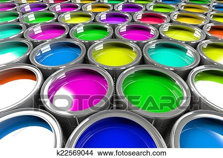drawings of multiple open paint cans k22569044 search clip art