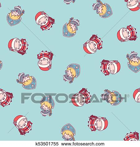 clipart new year pattern russian grandfather frost and snow maiden on a blue background
