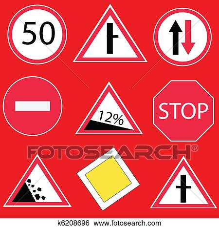 Clip Art - Traffic signs. Fotosearch - Search Clipart, Illustration  Posters, Drawings,