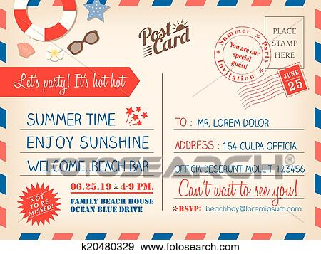 Vendange, vacances été, carte postale, fond, gabarit, pour, invitation, carte Clipart ...