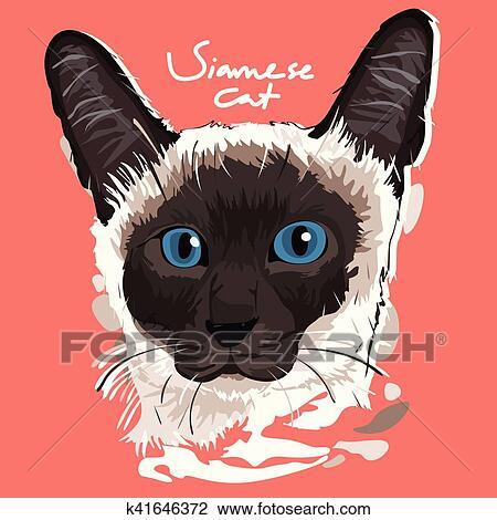 シャム 猫 絵 ポスター クリップアート切り張りイラスト絵画集