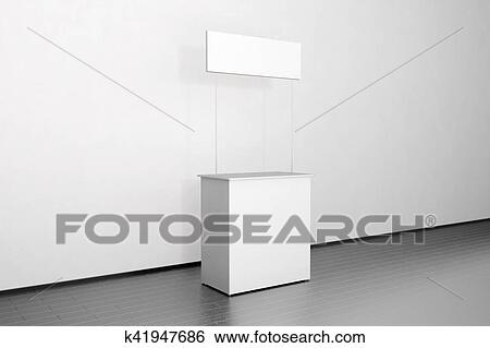 Exhibition Stall Mockup : Blank white promo counter mockup stand near the wall side stock