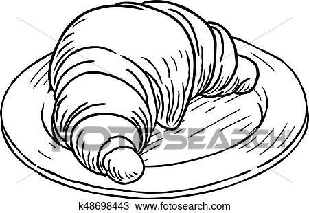 Croissant Patisserie Vendange Retro Woodcut Style Clipart