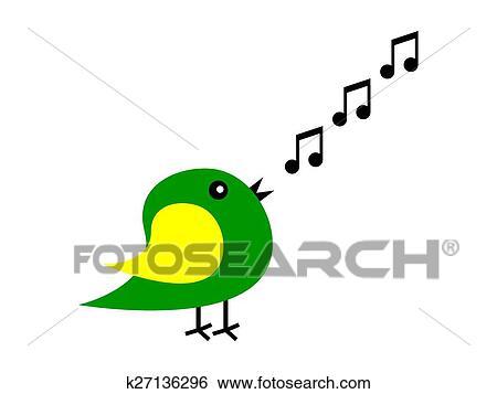 Clipart dessin anim oiseau chante k27136296 - Dessin oiseau qui chante ...