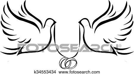 clipart of doves with wedding rings 2 k34553434 search clip art rh fotosearch com Wedding Bells and Doves Clip Art Love Dove Wedding Clip Art