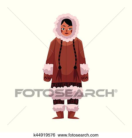 Esquimau Inuit Femme Dans Chaud Vêtements Hiver à Long Tresses Clipart