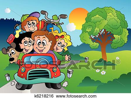 Clip Art Of Family In Car Going On Vacation K6218216
