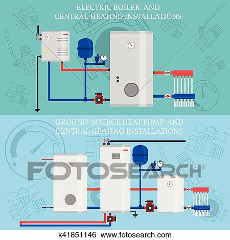 Clip Art of Gas boiler and central heating installations k41851146 ...