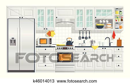 Kitchen Furniture With Appliances Illustration Clipart