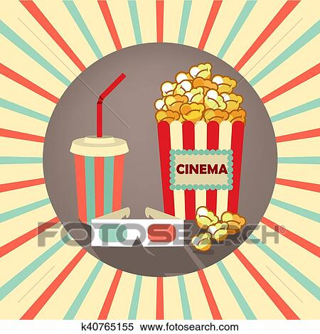 Movie time cinema old projector Clipart Image