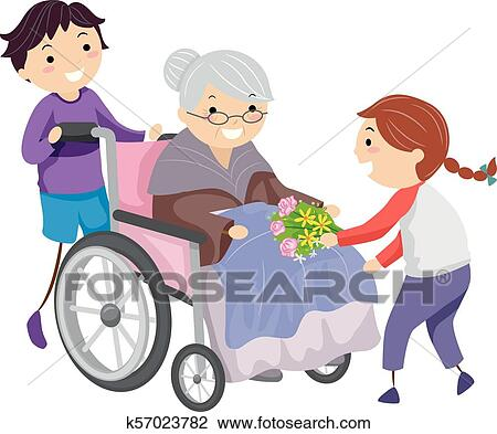 Stickman Kids Nursing Home Volunteers Illustration Clipart K57023782 Fotosearch