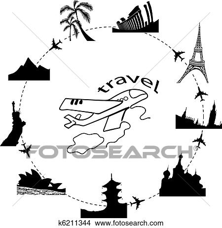 Clipart Of Traveling By Plane K6211344