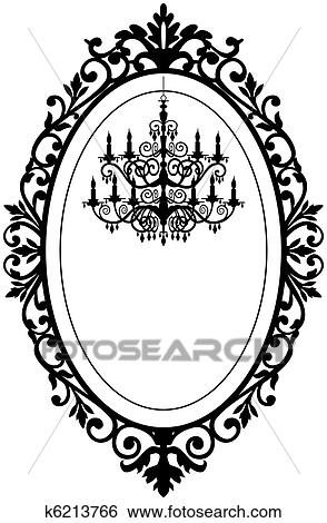 vintage black frame. Vintage, Antique Picture Frame With Baroque Chandelier Black Silhouette,  Full Scalable Vector Graphic, Change The Colors As You Like. Vintage L