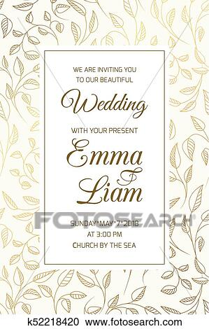 Wedding Invitation Card Template Swirl Leaves Gold Clipart