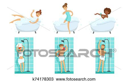Young Men And Women Taking Shower And Bath In Bathtub In Bathroom Set Vector Illustration Clipart K74178303 Fotosearch