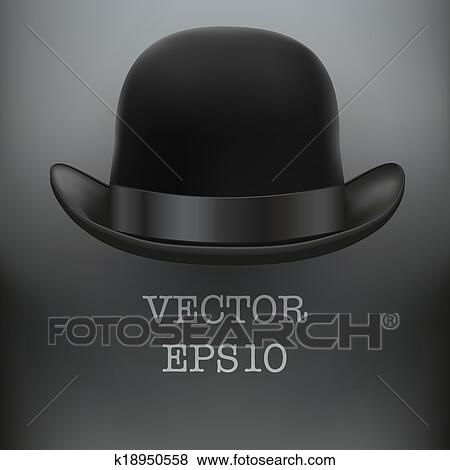 bf1d846db59 Clip Art of Black bowler hat on a white background vector k18950558 ...