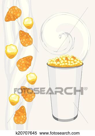 Corn flakes and milk Royalty Free Vector Image