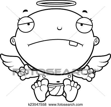 Dessin Ange Triste clipart - dessin animé, bébé, ange, triste k23547558 - recherchez