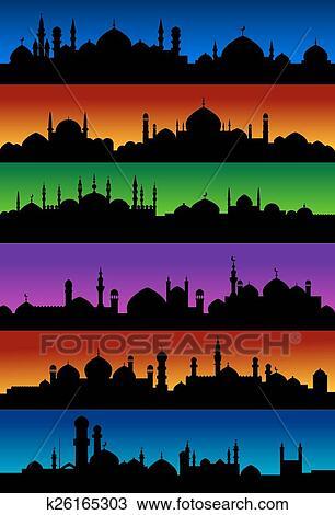Clipart - oriental, arabe, ville, horizons, à, mosquées k26165303 ...