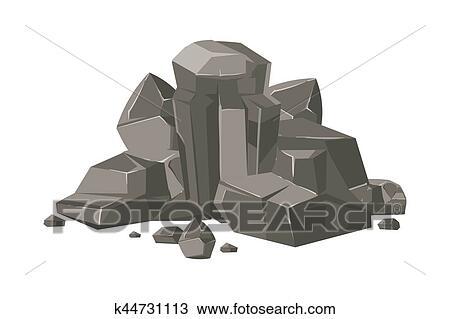 Clipart pierres et rochers dessin anim vecteur nature rocher isol k44731113 - Rocher dessin ...